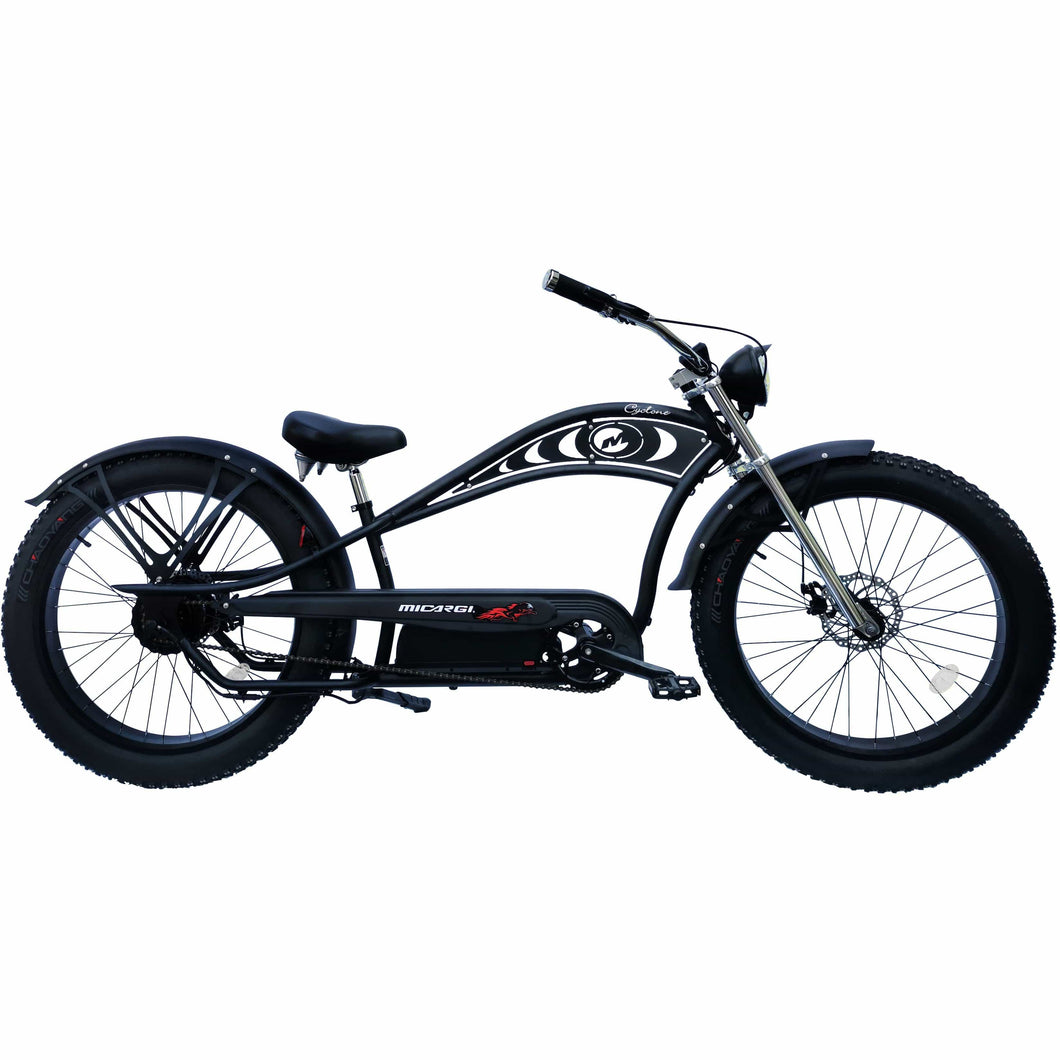 MICARGI CYCLONE DELUXE, Fat tire, Stretch Cruiser, Chopper Style - 500 Watt, 48V - electricbyke.com