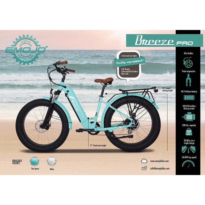 EMOJO, Electric Bike, BREEZE PRO, Beach/City Cruiser - 500 Watt, 48V