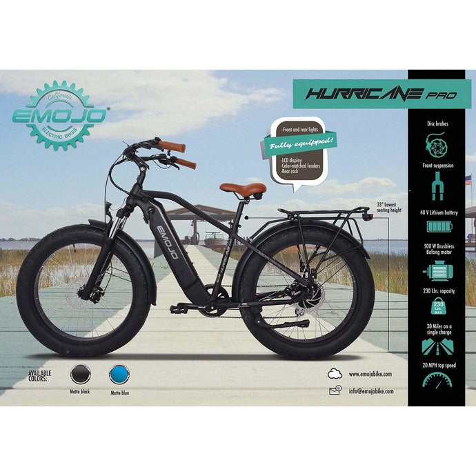 EMOJO, Electric Bike, HURRICANE PRO, Beach/City Cruiser - 500 Watt, 48V