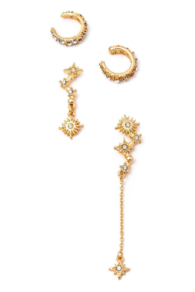 Gold Toned Stars Earrings With Ear Cuffs