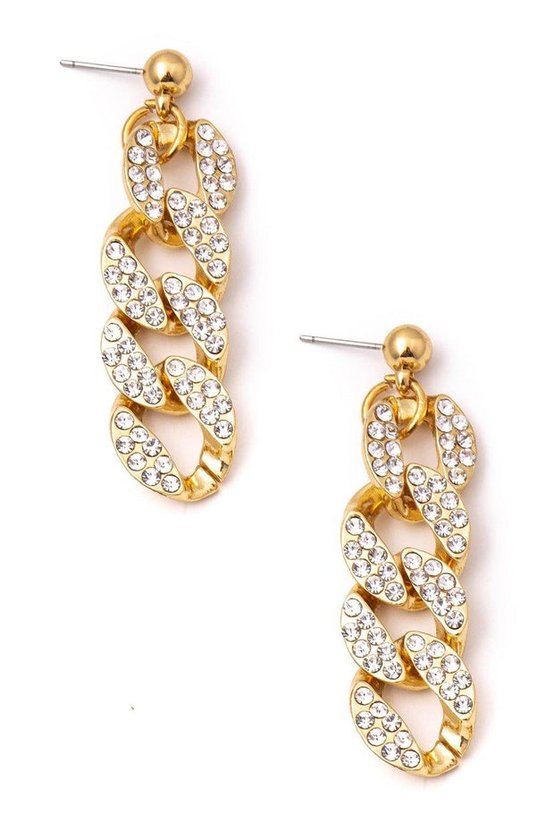 Studded Cuban Chain Drop Earrings