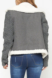 Faux fur contast cable knit jacket