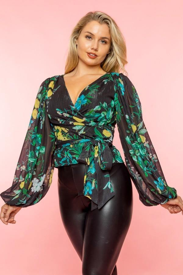 Sheer Metallic Floral Surplice Top