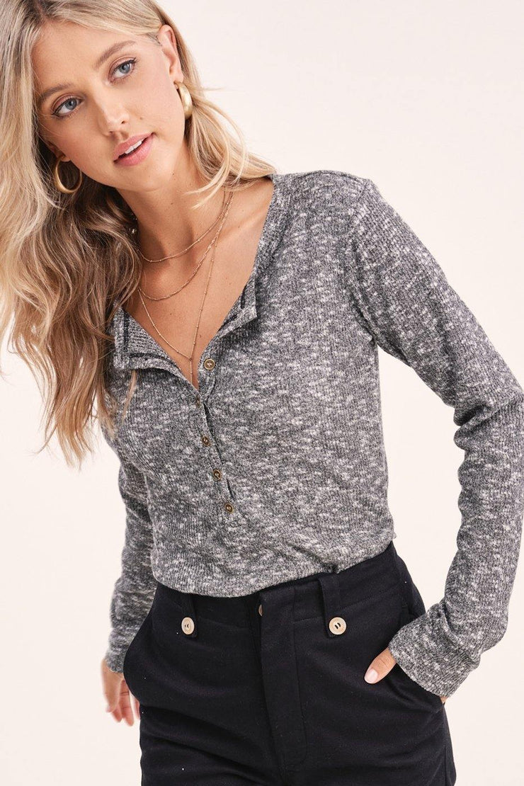 Grey Button Down Top