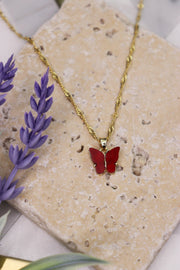 Butterfly Babe Necklace - Ruby Red