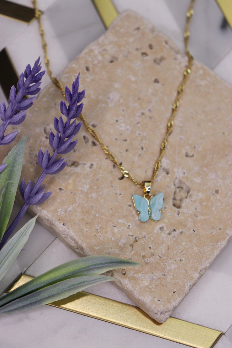 Butterfly Babe Necklace - Baby Blue