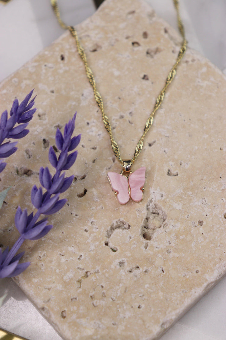 Butterfly Babe Necklace - Blush Pink
