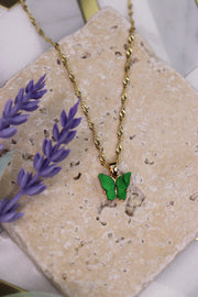 Butterfly Babe Necklace - Jade Green