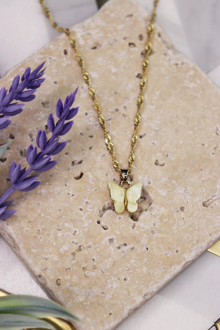 Butterfly Babe Necklace - Lemon Yellow