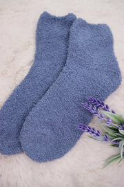Winter Fuzzy Socks - Periwinkle