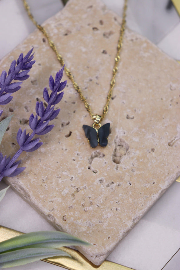 Butterfly Babe Necklace - Obsidian Black