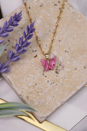 Butterfly Babe Necklace - Barbie Pink