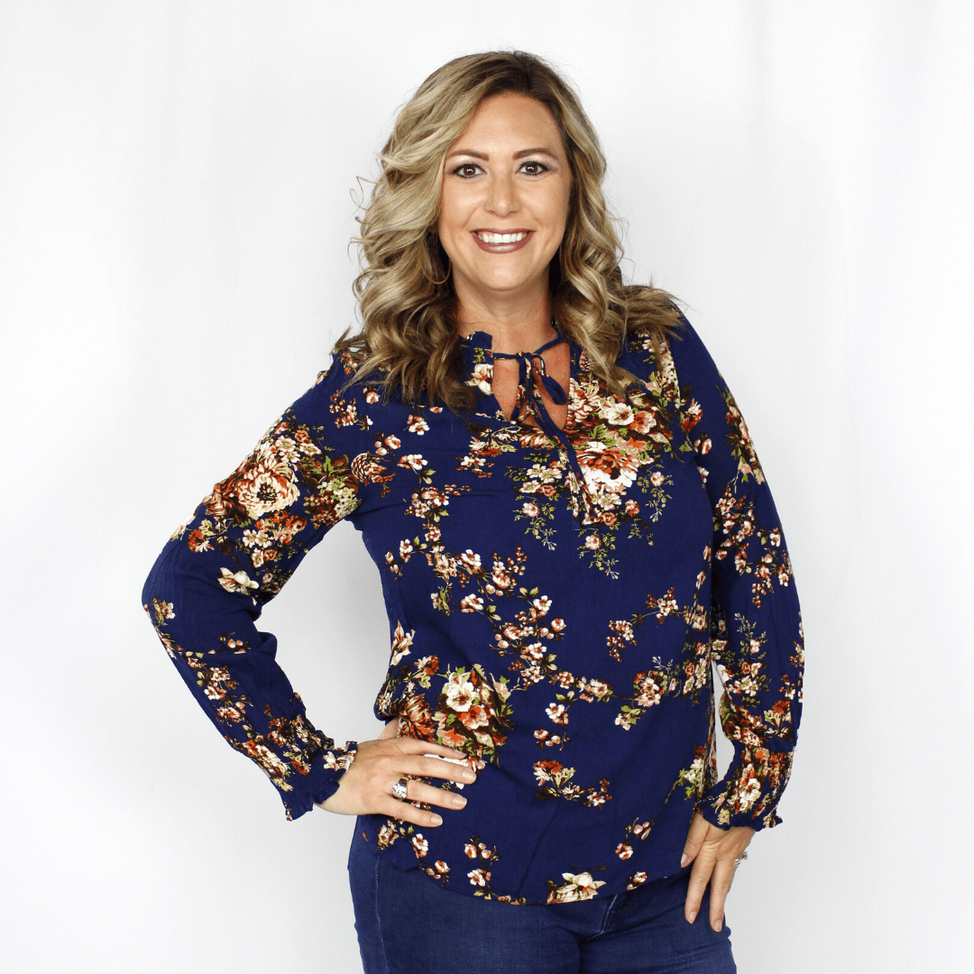 Blue floral long sleeve top, tie accent, elastic sleeve
