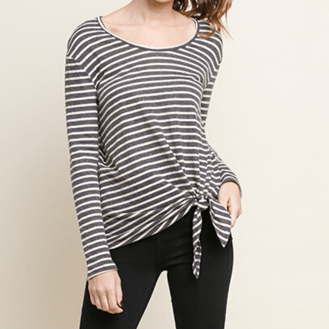 Stripe Long Sleeve Front Tie Top