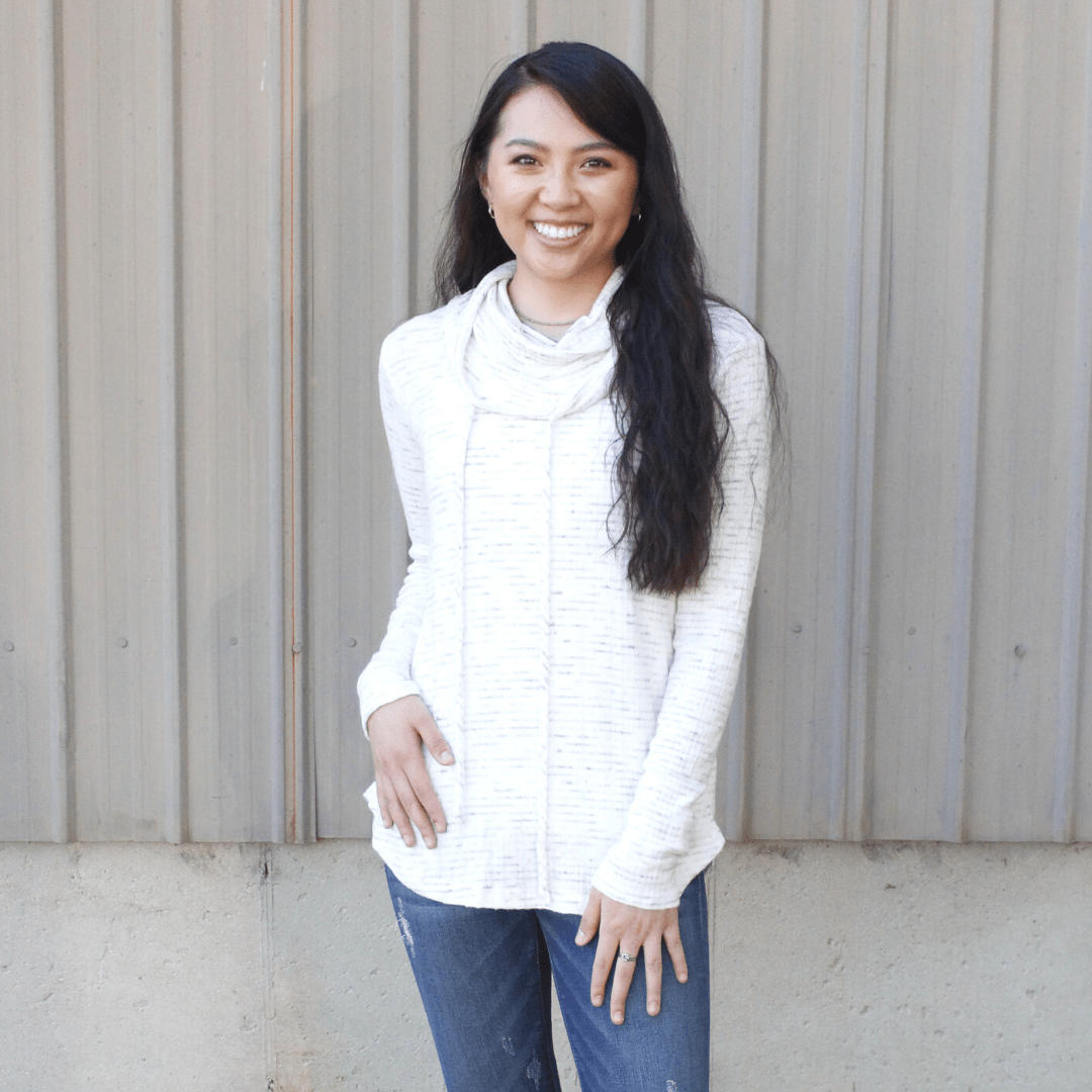 Ivory Cowl Neck Pullover