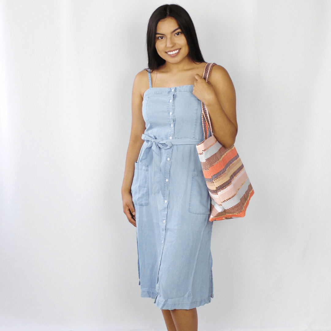 Denim Peplum Button Dress
