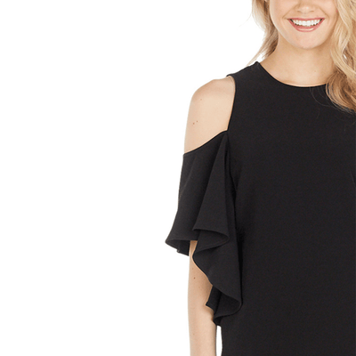 Black Birdie Ruffle Dress LG