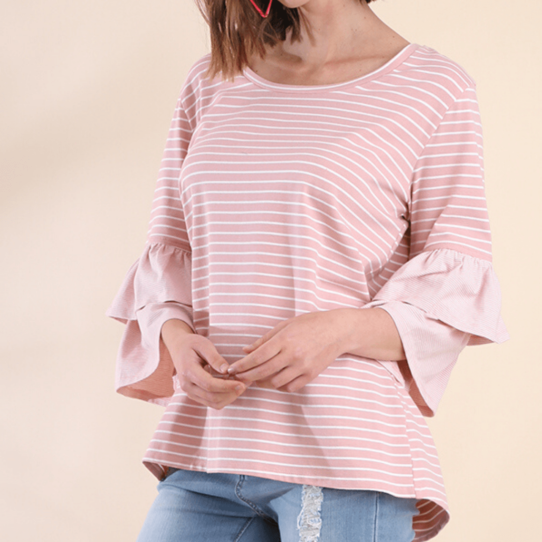 Rose Stripe Layer Bell Sleeve Top
