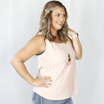 Light pink tank top with lace overlay