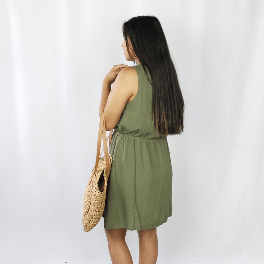 Olive green drawstring dress with pockets