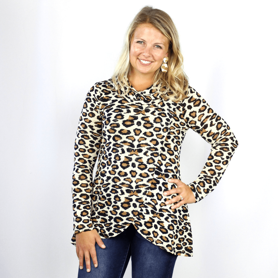 Leopard Cowl Cross Over Blouse