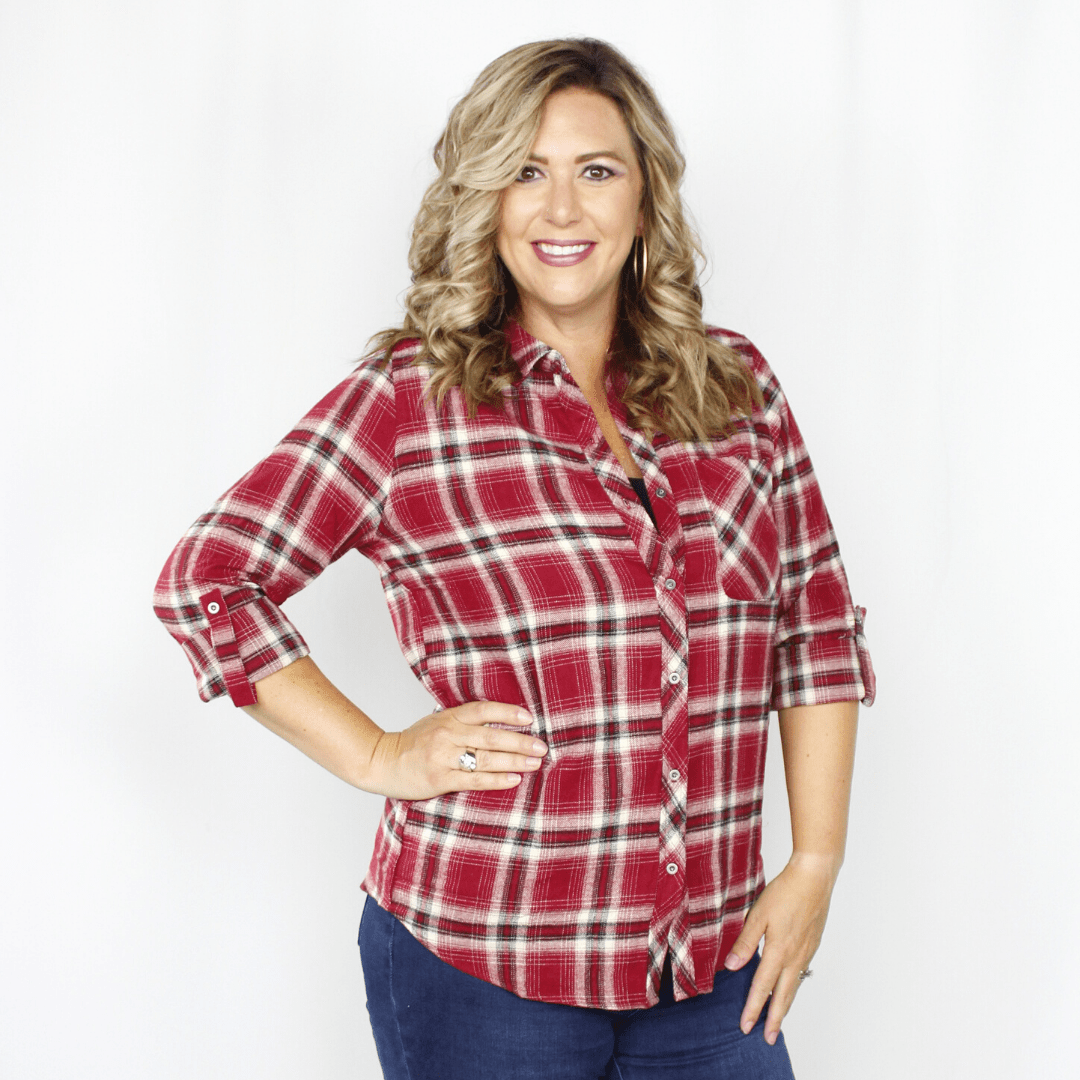 Red plaid flannel top, 3/4 length long sleeves