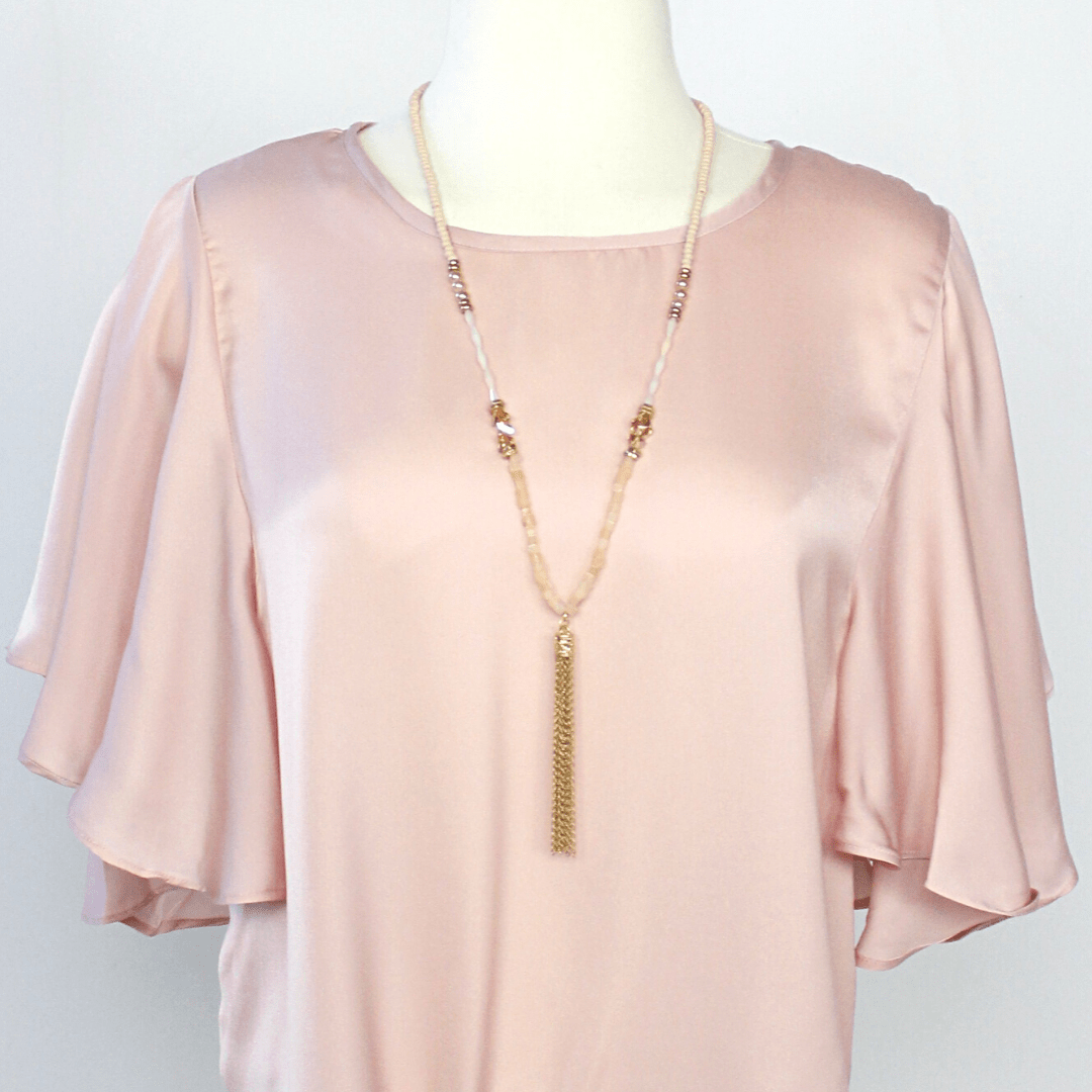 Rose Beaded Gold Tassel Necklace