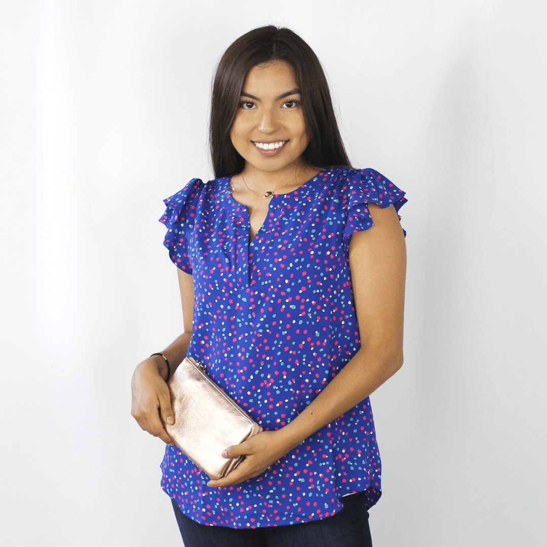 Royal blue polka dot ruffle short sleeve shirt