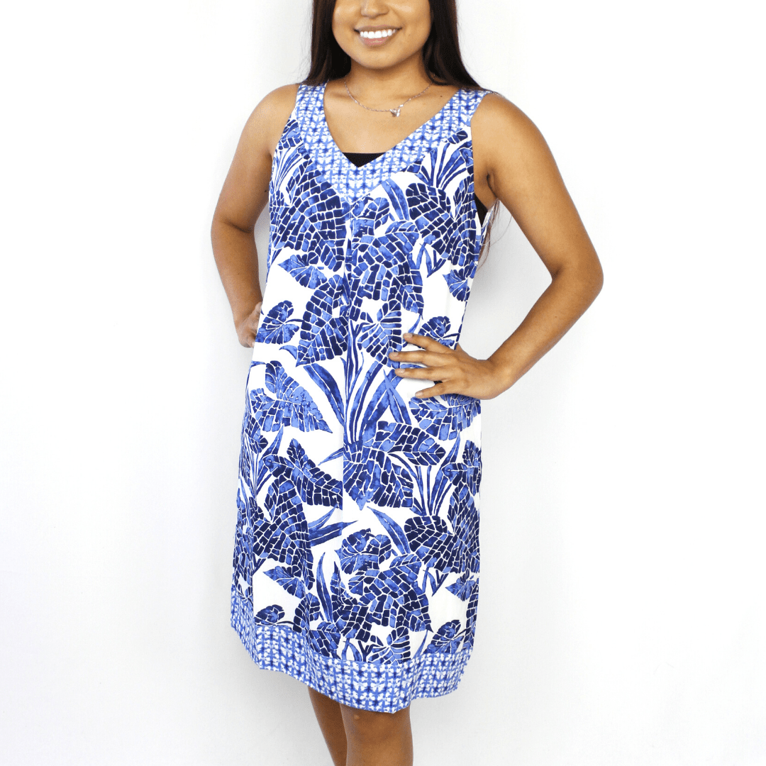 Blue and white mosaic v-neck dress