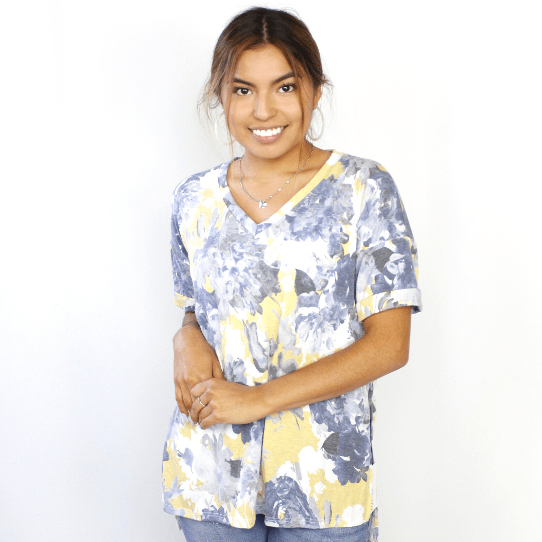 Yellow Floral Vneck Cap Sleeve Top