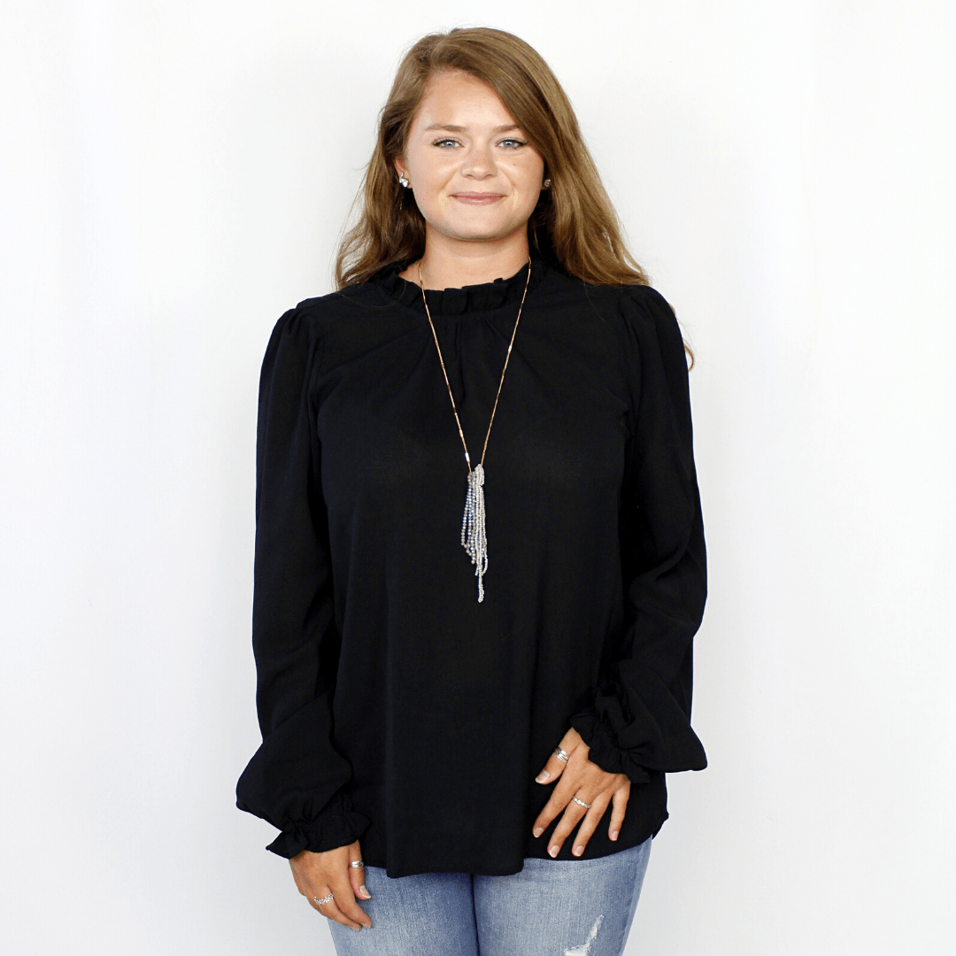 Black long sleeve high neck blouse, sheer