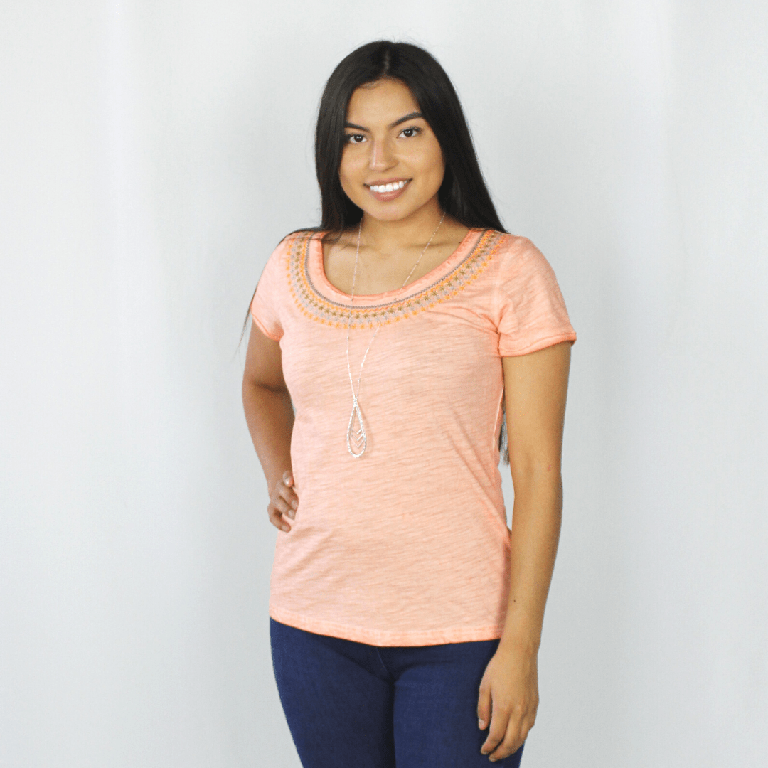 Coral Embroidered Short Sleeve Top