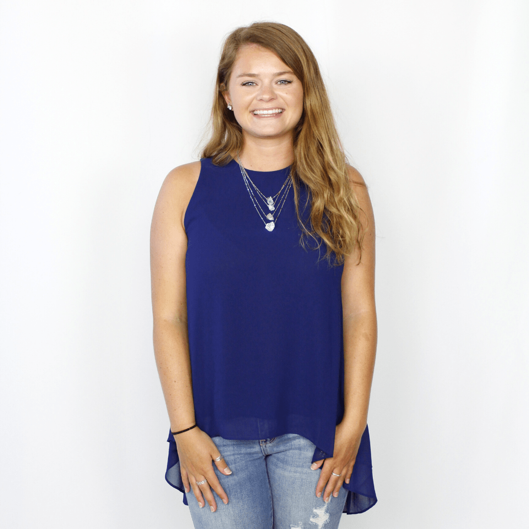 Navy High-Low Sleeveless Top