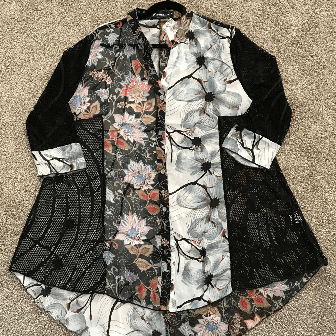 Floral Mesh Sleeve Blouse
