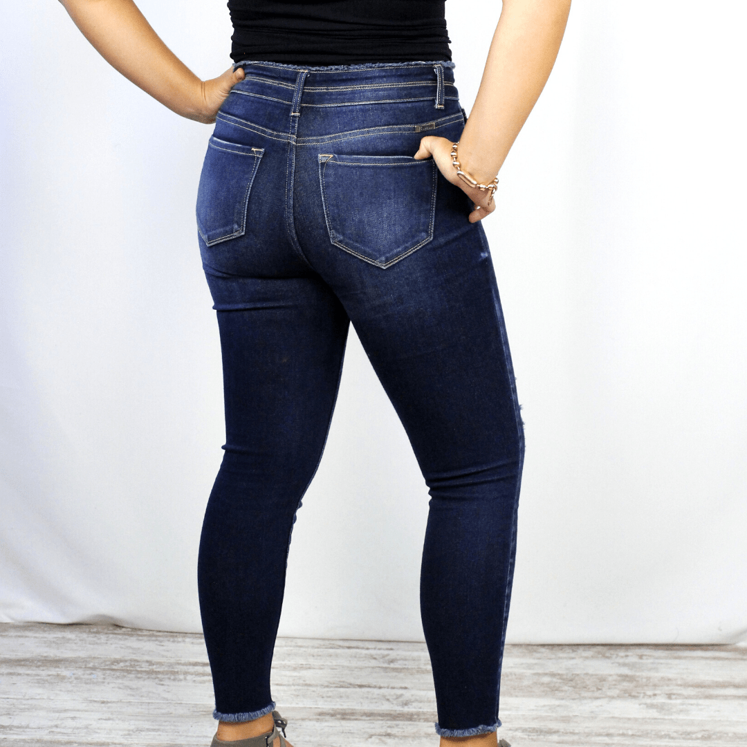 Distressed High Rise Dark Denim