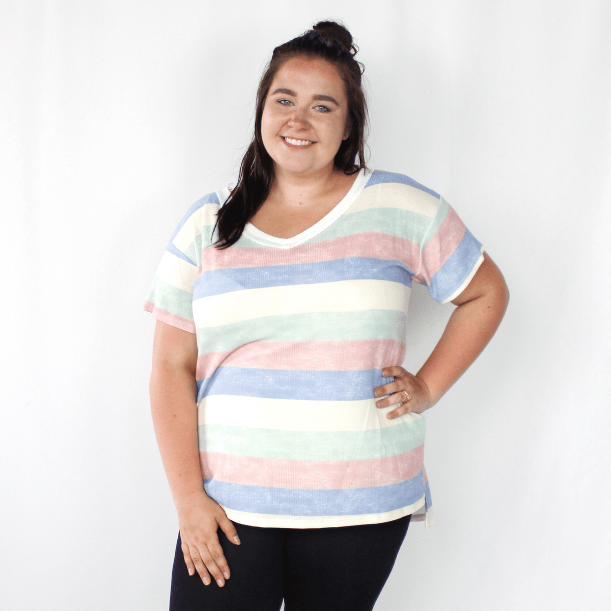 Blue, green, yellow, red striped shirt, short sleeve