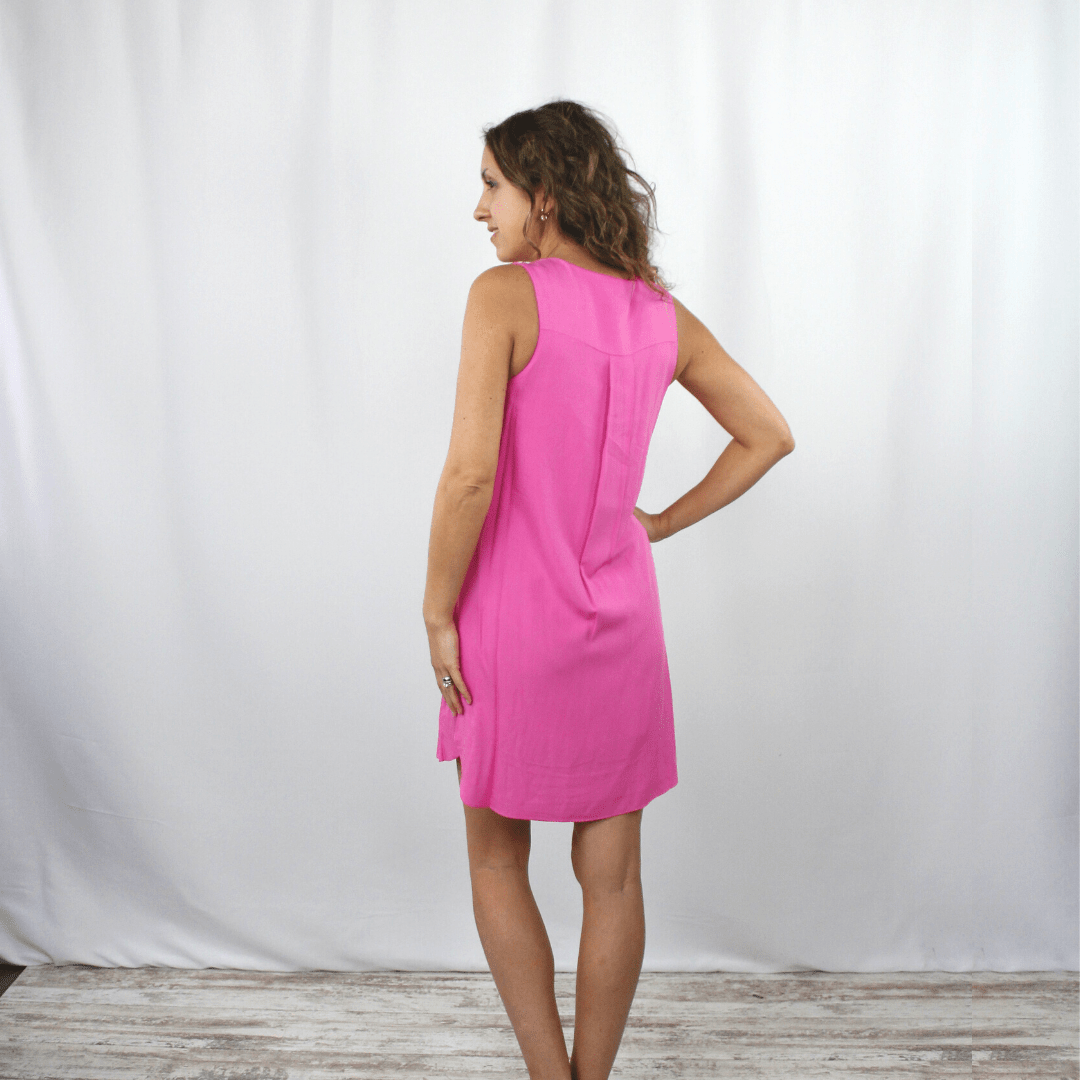 Pink Vneck SL Dress
