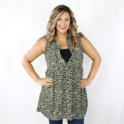 Olive green leopard print collared dress