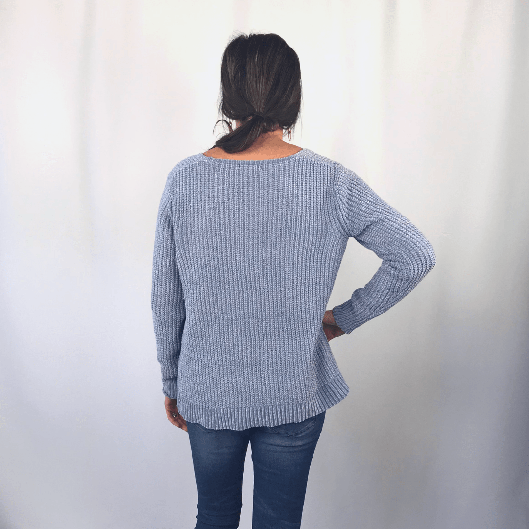 Gray Blue Chenille Sweater