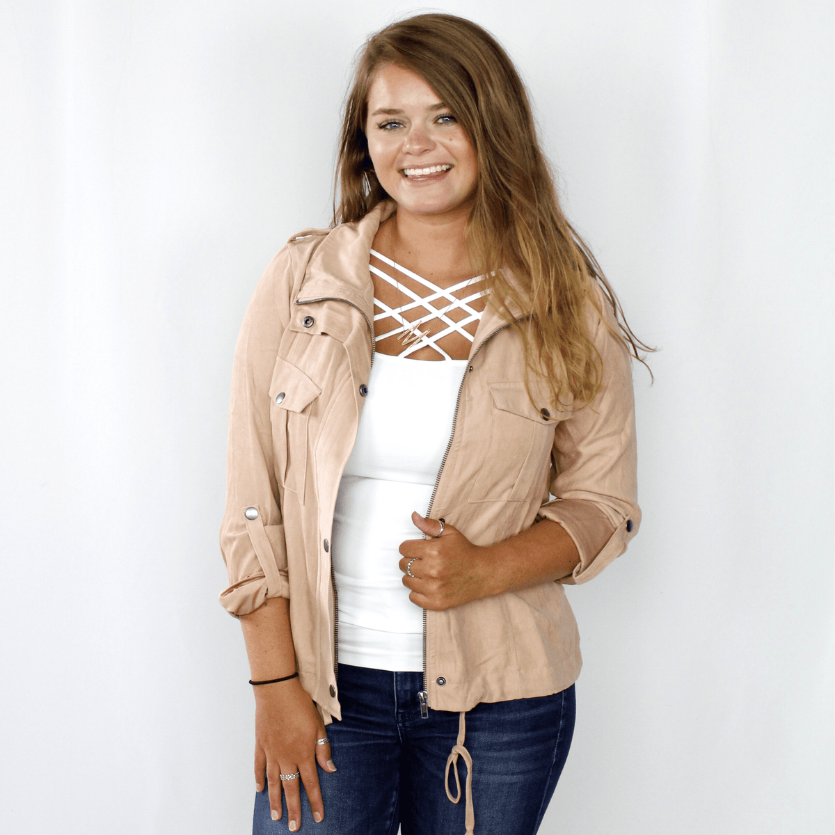 Blush Suede Drawstring Jacket