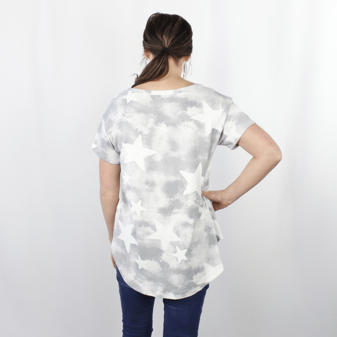 Grey Washed Out Star Top