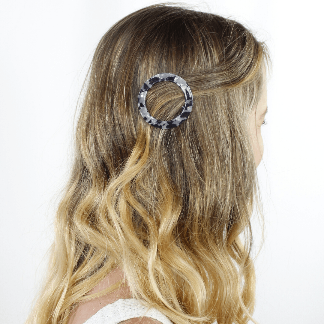 2pc Circle Marble Barrettes