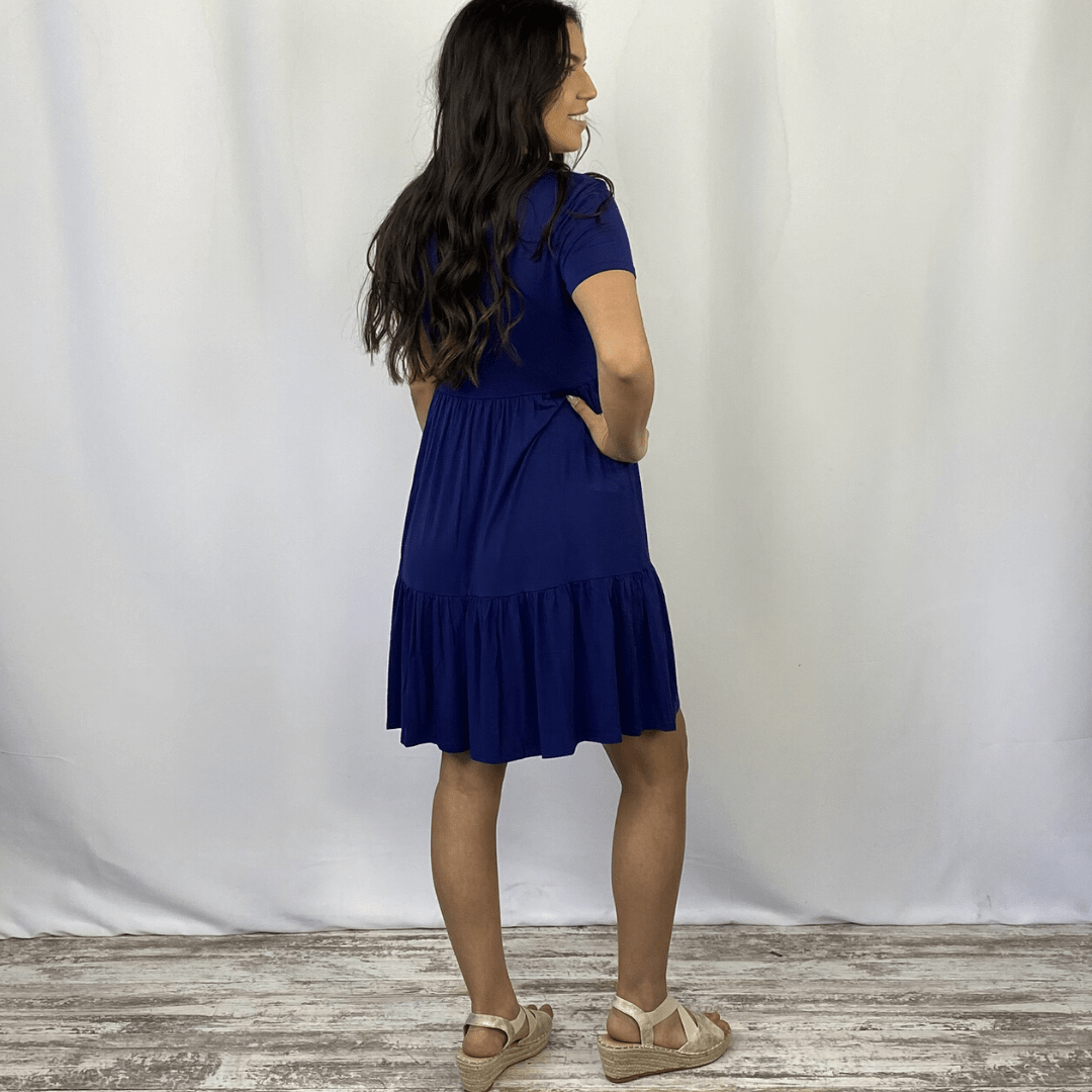 Navy Tiered Swing Dress