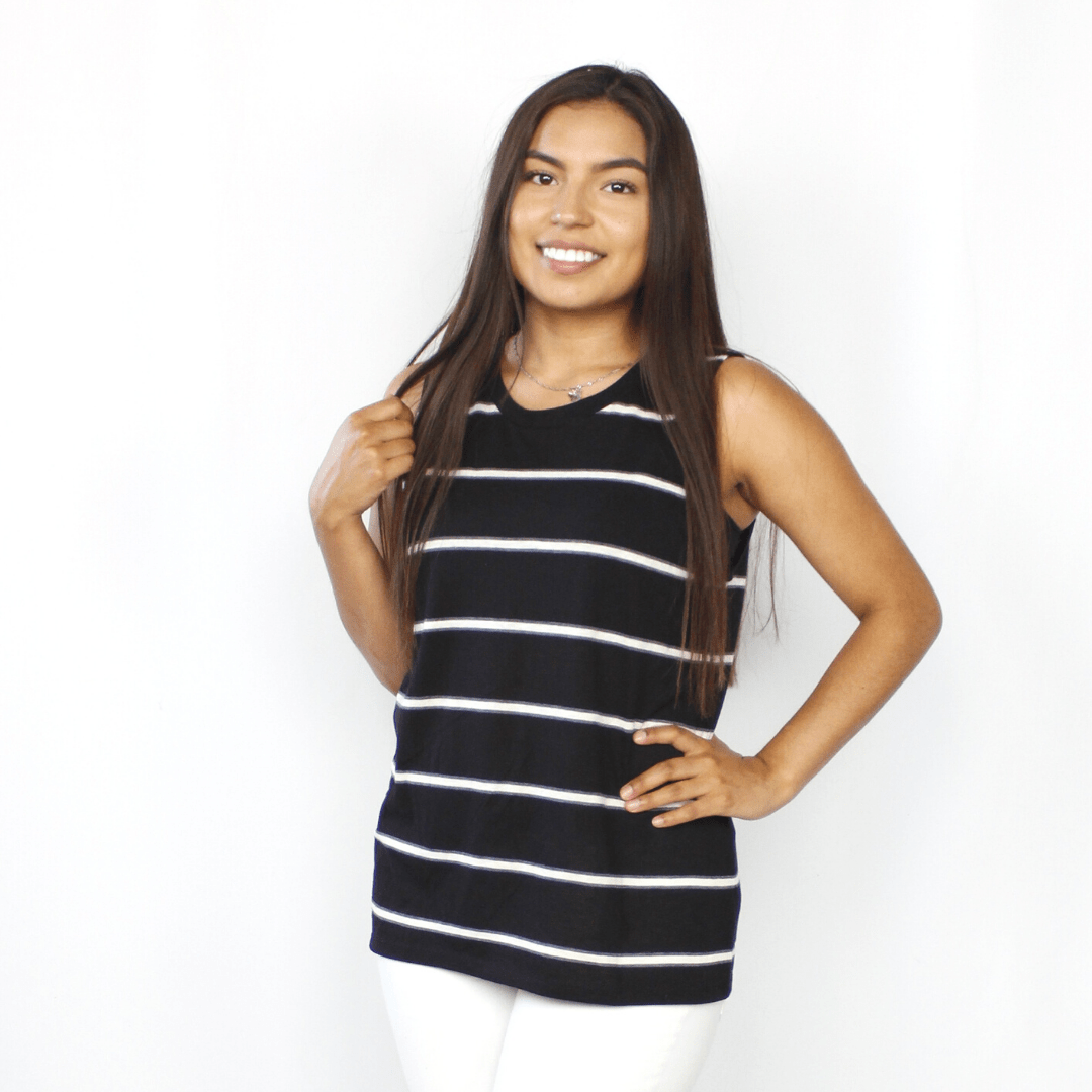 Black and white striped scoop neck tank top