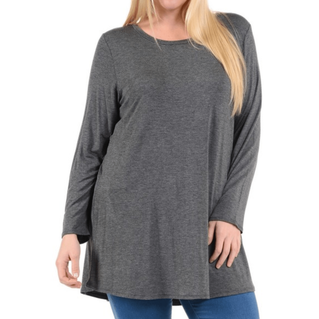 Charcoal gray long sleeve scoop neck shirt