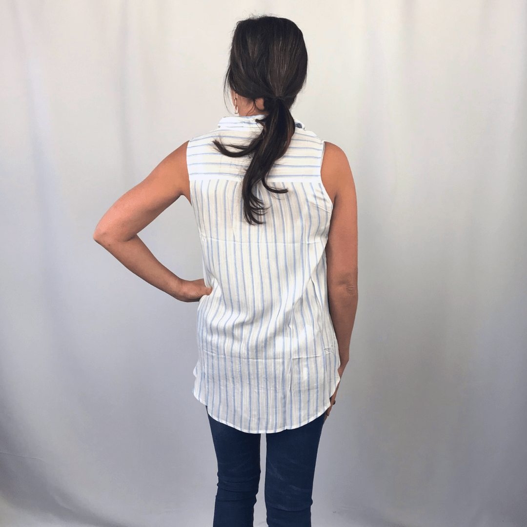 Blue Stripe Twist Front Collar Tank