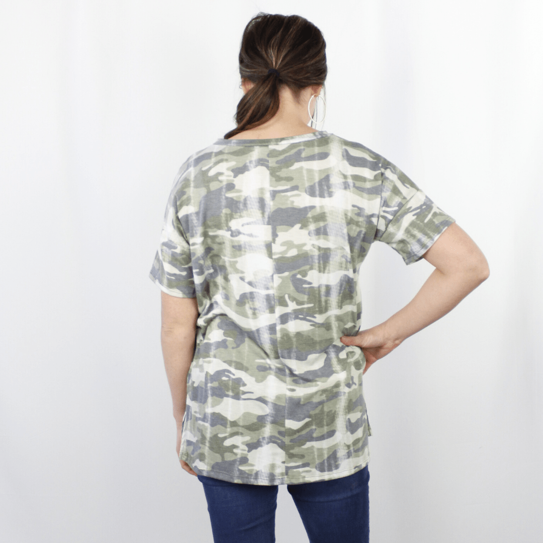 Camo Washed Out Top