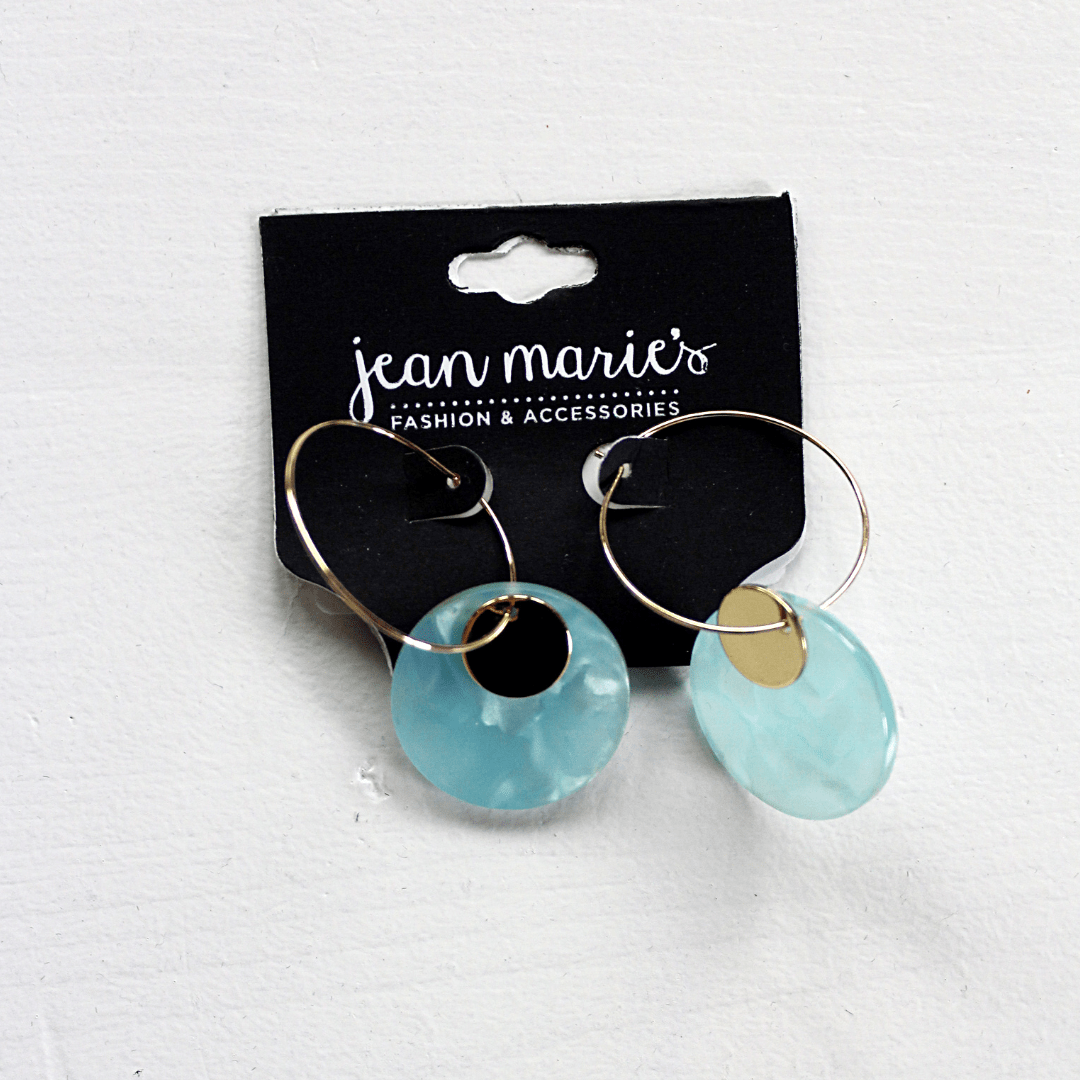Circle Shell Dangle Earrings