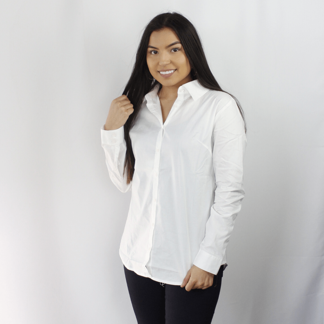 White button down long sleeve collared shirt