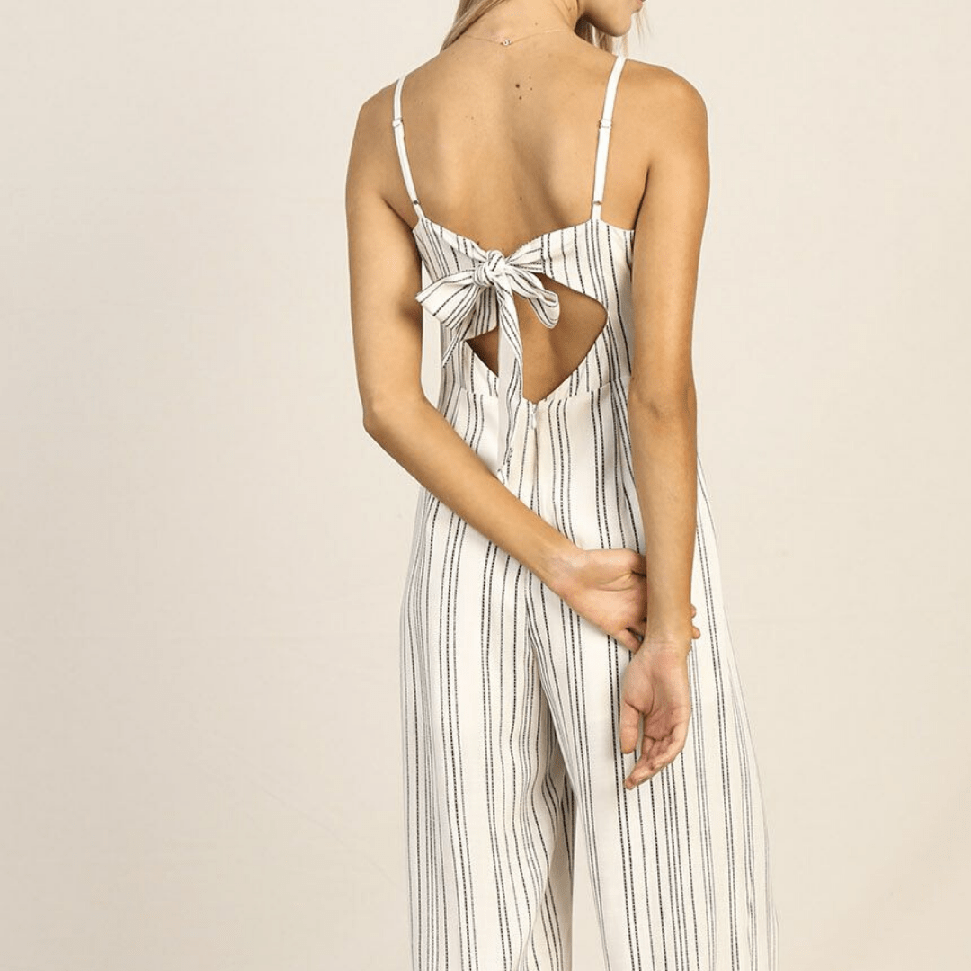 Striped Embroidered Jumpsuit